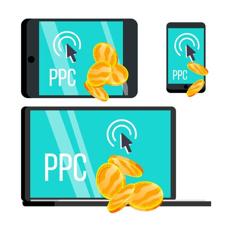 Ppc Pay Per Click Device And Coins Set Vector. Metallic Golden Money And Mouse Cursor Depicted On Display Screen Of Laptop, Smartphone And Tablet. Digital Technology Flat Cartoon Illusration