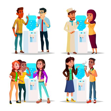 Character Water Cooler Talking Gossip Set Vector. Young Business Man And Woman Employee Colleague Gossip And Drinking Water Or Hot Drink. Office Time Collection Flat Cartoon Illustration