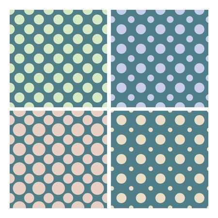 Vintage 1950 Polka Dot Set Seamless Pattern Vector. Collection Of Retro Colorful Fashion Elegance Textile Textures Retro Polka. Design Paint Paper Template Flat Cartoon Illustration