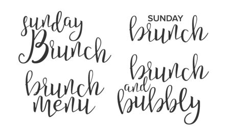 Funny Modern Calligraphy Of Brunch Word Vector. Stylish Typography Inscription With Different Handwritten Drawn Latin Letters Sunday Menu Bubbly Brunch Elegance Decoration. Text Flat Illustration