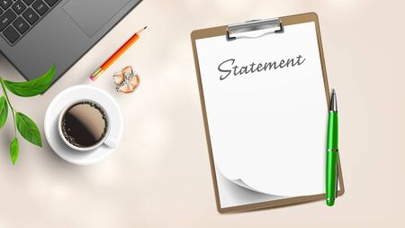 Blank Statement On Workplace With Supplies Vector. Statement On List Of Paper And Tablet, Laptop Near Branch, Cup Coffee, Pencil With Eraser And Sharpening Shavings. Copy Space Top View Illustration