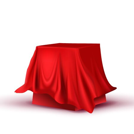 Design Hidden Red Tablecloth Square Table Vector. Canteen Or Restaurant Decoration Covered Table. Breakfast Or Lunch, Dinner Or Intermission Item For Food Time Realistic 3d Illustration