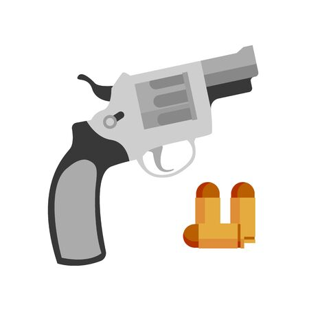 Handgun Revolver Nagant And Pistol Bullet Vector. Vintage Retro Handgun Gun Weapon Hunting Shooter Or Protection Device. Firearm Automatic Danger Ammunition Flat Cartoon Illustration Illustration
