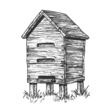 Wooden Beehive Apiary On Grass Apiculture Vector. Vintage Bee House Hive Beehive For Honey Healthy Food Products. Agriculture Farming Building For Flying Animal. Monochrome Cartoon Illustration