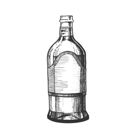 Closed Tall Classic Mexican Tequila Bottle Vector. Retro Glass Bottle With Blank Label For Traditional Alcohol Drink Produced In Mexico. Made From Blue Agave Plant Liquid Package Cartoon Illustration Vector Illustration