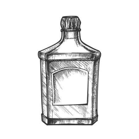 Square Classic Tequila Bottle With Cork Cap Vector. Vintage Glass Bottle With Blank Label For Classical Mexican Alcohol Drink. Drawn Container Agave Strong Beverage Cartoon Illustration
