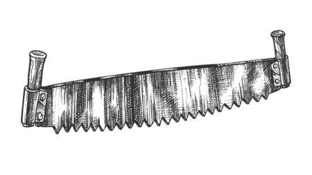 Ancien modèle de scie à deux mains pour scier le vecteur de grumes. Scie à double poignée pour deux ouvriers en bois avec lame à dents pointues. Instrument de coupe industriel dessiné dans une illustration de dessin animé de style vintage Vecteurs