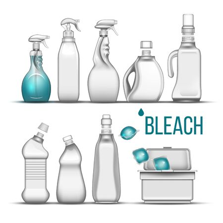 Plastic Bottle For Bleach Detergent Set Vector. Different Bottle With Cap, Atomizer Spray And Container Box For Cleaning Substance, Scour And Liquid Soap. Realistic 3d Illustration, Illusztráció