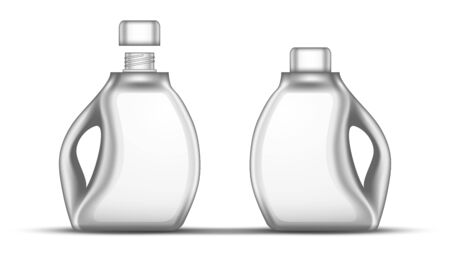 Blank White Bleach Plastic Bottle With Cap Vector. Closed And Opened Bottle For Clear Wash Whiten Chemical Liquid Laundry Clothes. Container For Bleaching Fluid Realistic 3d Illustration