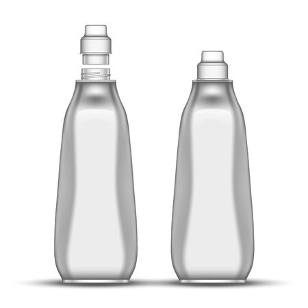 Blank Dishwashing Bleach Plastic Bottle Vector. Closed And Opened Bottle For Wash Plate Kitchen Chemical Liquid. Concept Mockup Container For Disinfector Substance Realistic 3d Illustration Illustration