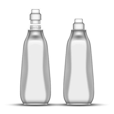 Vide vaisselle Javel bouteille en plastique vecteur. Bouteille fermée et ouverte pour le liquide chimique de cuisine de plat de lavage. Récipient de maquette de concept pour l'illustration 3d réaliste de substance de désinfectant