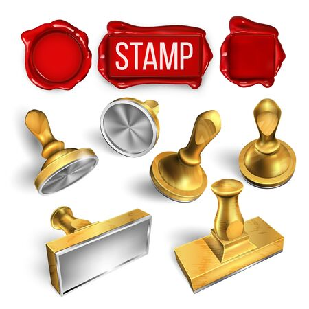 Collection Of Wax Seal And Stamp Cliche Set Vector. Different Form Round And Rectangular, Material Wooden And Metallic Stamp. Office Post Tool For Document And Mail Template Realistic 3d Illustration