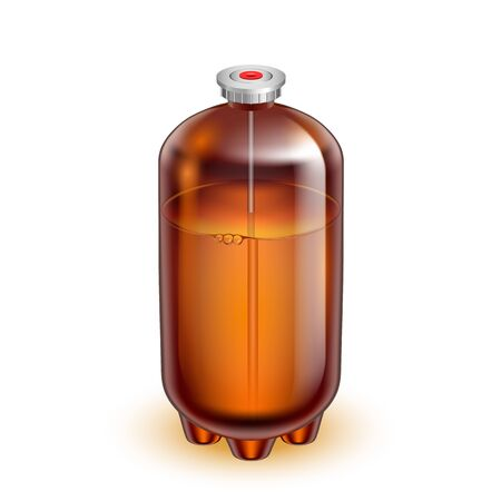 Classic Glass Keg Barrel For Mineral Water Vector. Blank Brown Sealed Glass Can With Special Valve Fitting For Non-alcoholic Healthy Drink. Storaging Container Realistic 3d Illustration