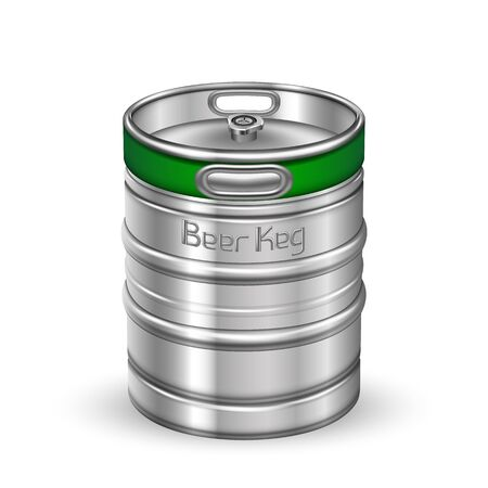 Classic Chrome Metallic Beer Keg Barrel Vector. Blank Standard Aluminum Keg For Delivery To Tavern Alcoholic Brewing Lager Drink Production. Steel Container Realistic 3d Illustration