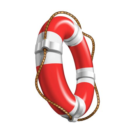 Life Saver Boat Element For Help Drowning Vector. Life Safety With Cable Equipment. Colorful Red And White Survival Round Lifebelt In Ocean Lifeguard Device Realistic 3d Illustration