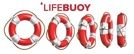 Boat Lifebuoy Ring In Different View Set Vector. Collection Of Red And White Colored Lifebuoy. Classical Ship Equipment Flotation Hoop With Cord For Drowning People In Sea. Realistic 3d Illustration Illustration