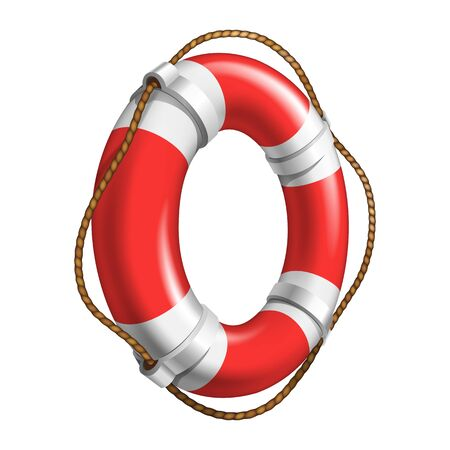 Red And White Flotation Ring Ship Device Vector. Emergency Classical Flotation Hoop With Cord Made Of Polyurethane Foam. Aid Tool For Drowning People Colorful Realistic 3d Illustration