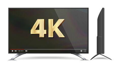 Schermo TV 4k. Segno UHD. Formato di risoluzione Ultra HD della TV. Illustrazione isolata Archivio Fotografico