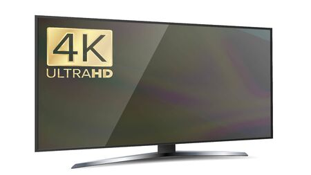 4k TV Screen. Ultra HD Resolution Format. Modern LCD Digital Wide Television Plasma Concept. Isolated Illustration