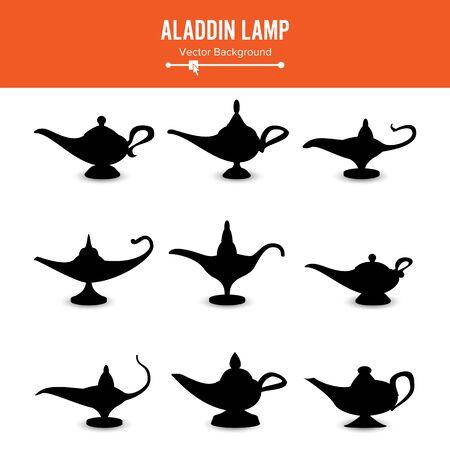 Aladin-Lampe. Set Icons Aladdins Lampe Zeichen. Illustration Wunsch und Geheimnis Souvenir Standard-Bild
