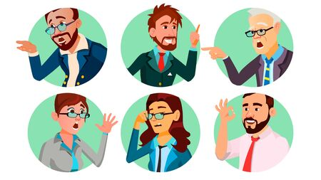 Business People In A Hole . Behavior Concept. Isolated Flat Cartoon illustration