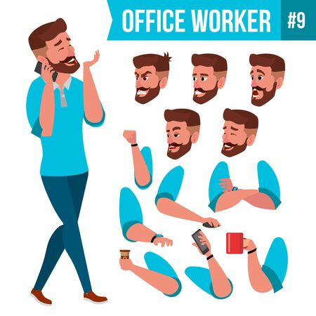 Office Worker . Face Emotions, Various Gestures. Animation Creation Set. Businessman Person. Smiling Executive, Servant, Workman, Officer Isolated Character Illustration
