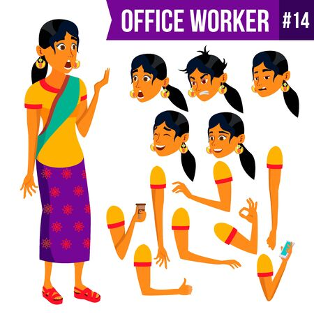 Office Worker . Woman. Modern Employee, Laborer. Business Worker. Face Emotions, Various Gestures. Animation Creation Set. Isolated Cartoon Character Illustration Stock Photo