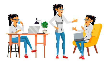 Business Woman Character . Working Asian Woman. Team Room. Asiatic. Environment Process In Start Up Office. Web Developer Programming. Poses. Flat Cartoon Business Illustration