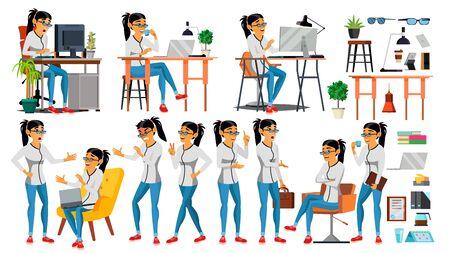 Business Woman Character . Working Asian, Woman. Asiatic. Environment Process Creative Studio. Programmer, Designer. Code. Javascript Cartoon Business Character Illustration