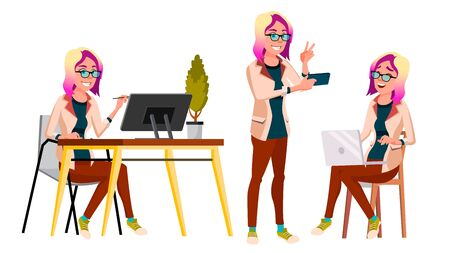 Office Worker . Woman. Professional Officer, Clerk. Adult Business Female. Lady Face Emotions, Various Gestures. Isolated Cartoon Illustration
