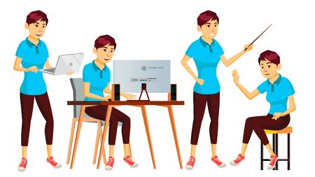 Office Worker . Woman. Modern Employee, Laborer. Business Worker. Face Emotions, Various Gestures. Isolated Cartoon Nipponese Character Illustration