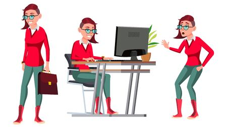 Office Worker . Woman. Successful Officer, Clerk, Servant. Emo Hairstyle. Poses. Business Woman Worker. Face Emotions Gestures Isolated Flat Illustration