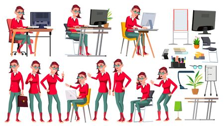 Office Worker . Woman. Happy Clerk, Servant, Employee. Freak. In Action. Business Human. Emotions Various Gestures Isolated Character Illustration