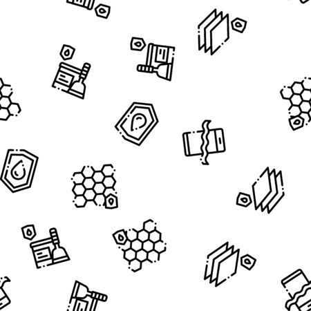 Waterproof Materials Vector Seamless Pattern. Waterproof Material For Personal, Industrial Use Linear Pictograms. Water Resistant Device, Clothes, Moisture Absorbing Substance Contour Illustrations