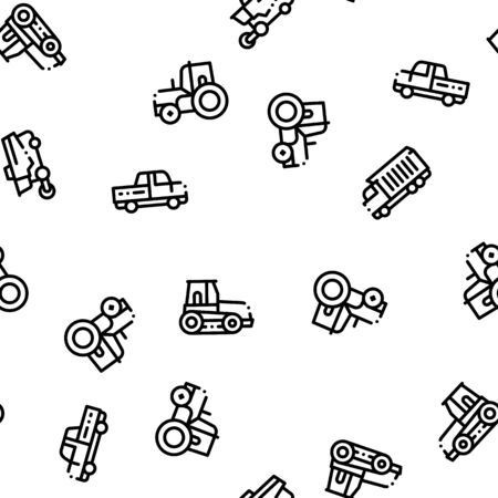 Agricultural Vehicles Vector Seamless Pattern. Agricultural Transport, Harvesting Machinery Linear Pictograms. Harvesters, Tractors, Irrigation Machines, Combines Color Contour Illustrations