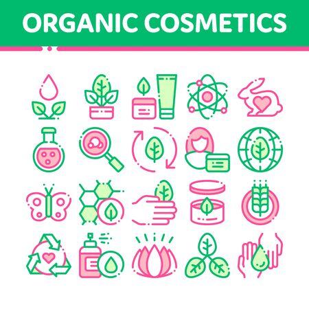 Set di icone di linea sottile di vettore di cosmetici biologici. Cosmetici biologici, pittogrammi lineari di ingredienti naturali. Prodotto ecologico e privo di crudeltà, analisi molecolare, illustrazioni di contorno di ricerca scientifica