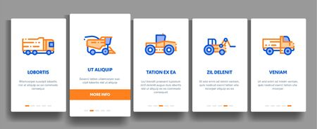 Agricultural Vehicles Vector Onboarding Mobile App Page Screen. Agricultural Transport, Harvesting Machinery Linear Pictograms. Harvesters, Tractors, Irrigation Machines, Combines Illustration  イラスト・ベクター素材