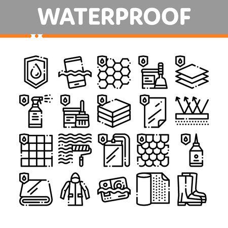 Materiales impermeables Vector conjunto de iconos de línea fina. Material impermeable para pictogramas lineales de uso personal e industrial. Dispositivo resistente al agua, ropa, ilustraciones de contorno de sustancia absorbente de humedad