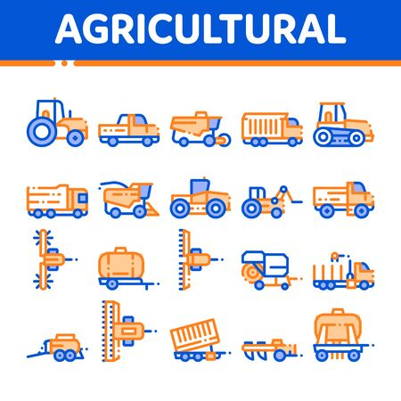 Agricultural Vehicles Vector Thin Line Icons Set. Agricultural Transport, Harvesting Machinery Linear Pictograms. Harvesters, Tractors, Irrigation Machines, Combines Color Contour Illustrations