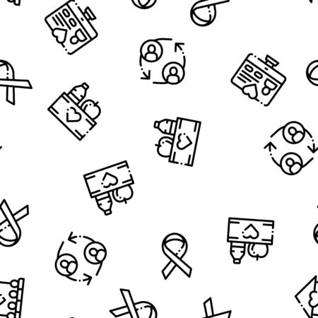 Volunteers Support Vector Seamless Pattern. Volunteers Support, Charitable Organizations Linear Pictograms. Blood Donor, Food Donations, Financial Help, Humanitarian Aid Color Contour Illustrations
