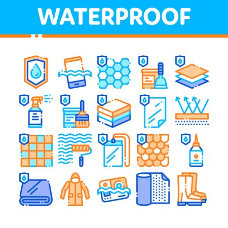 Waterproof Materials Vector Thin Line Icons Set. Waterproof Material For Personal, Industrial Use Linear Pictograms. Water Resistant Device, Clothes, Moisture Absorbing Substance Contour Illustrations Vetores