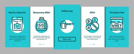 Sport Nutrition Cells Onboarding Mobile App Page Screen. Sport Nutrition for Sportsmen Linear Pictograms. Dietary Nutrition, Protein Ingredients, Wheys, Bars for Bodybuilding Illustration Stock Photo