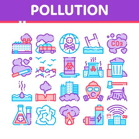 Pollution of Nature Thin Line Icons Set. Environmental Pollution, Chemical, Radiological Contamination Linear Pictograms. Gas, CO2 Emissions, Dirty Soil, Water, Air Color Contour Illustrations