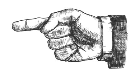 Male Hand Pointer Finger Showing Gesture Vector. Businessman Index Finger Arrow Suggesting Direction Course. Man Forefinger Wrist Gesturing Choice Monochrome Side View Closeup Cartoon Illustration