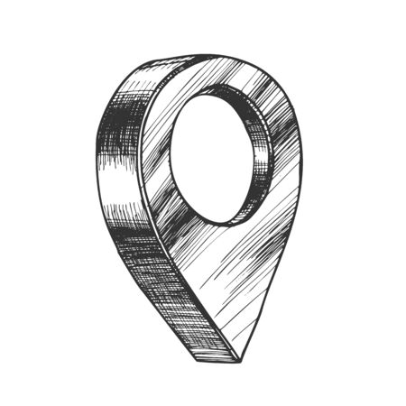 Map Pointer Gps Location Sign Detail Symbol Vector. Simple Place Pointer Navigator Element Of Finish End Direction. Marker Chart Monochrome Designed In Retro Style Cartoon Illustration 矢量图像
