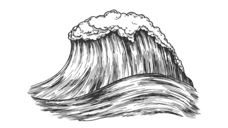 Big Foamy Tropical Ocean Marine Wave Storm Vector. Great Giant Water Wave Is Result Of Underwater Volcanic Eruption. Motion Nature Aquatic Tsunami Black And White Cartoon Illustration