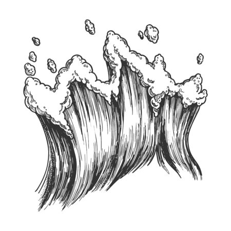 Rushing Tropical Sea Marine Wave With Drop Vector. Tall Foamy Marine Purl Wind Storm Tide Surf Water. Motion Nature Aquatic Tsunami Power Black And White Hand Drawn Cartoon Illustration Ilustração