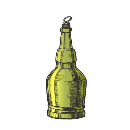 Hand Drawn Screw Cap Closed Bottle Of Beer Vector. Design Sketch Retro Bottle Of Alcoholic Drink Or Carbonated Water. Concept Color Glass Container And Ring On Top Template Cartoon Illustration