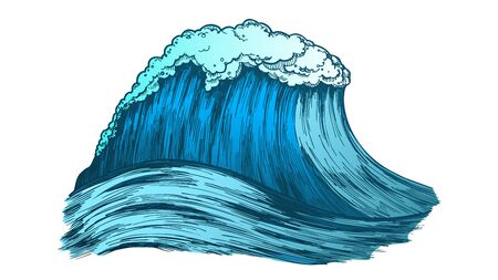 Big Foamy Tropical Ocean Marine Wave Storm Vector. Great Giant Water Wave Is Result Of Underwater Volcanic Eruption. Motion Nature Aquatic Tsunami Color Illustration