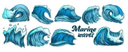 Designed Sketch Splash Marine Wave Set Vector. Collection Of Different Enormous Huge Breaking Ocean Sea Storm Water Wave With Foam. Nature Aquatic Tsunami Color Illustrations Stock Vector - 127195257